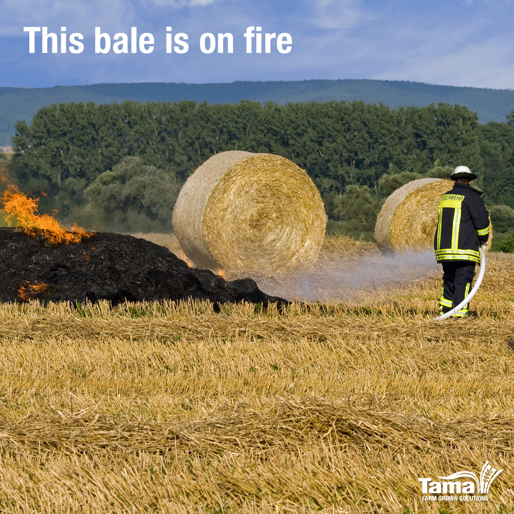 This bale is on fire