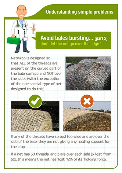 Understanding simple problems - Avoid bales bursting - Dont let the net go over the edge